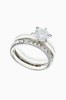 Silver Tone Halo Solitaire Ring Pack