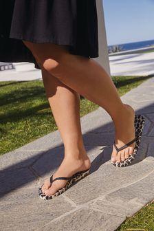 Animal Print Textured Toe Post Beach Sandals