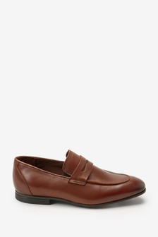 Chocolate Leather Saddle Loafers