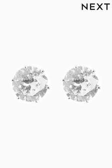 Silver Tone Cubic Zirconia Large Stud Earrings