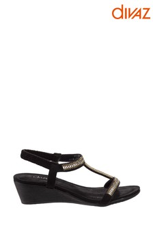 Divaz Black Pearl Elasticated Sandals