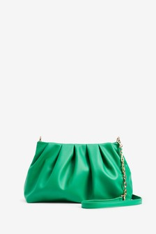 Green Slouchy Chain Detail Across-Body Bag