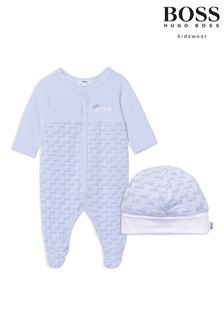 BOSS Light Blue Logo Sleepsuit And Hat Gift Set