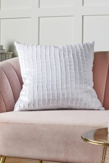 White Collection Luxe Grid Pleat Velvet Square Cushion