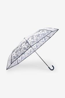 Clear Navy Floral Print Crook Handle Umbrella