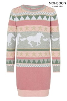 Monsoon Pale Pink Horse And Star Knit Dress
