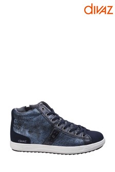 Divaz Blue Steffy Metallic Sneaker Boots