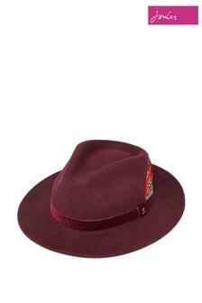 Joules Red Fedora Felt Hat