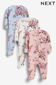 Pastel 3 Pack Floral Sleepsuits (0-2yrs)