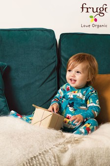 Frugi GOTS Organic Sleepsuit With Turn Back Scratch Mitts - Puffin Post