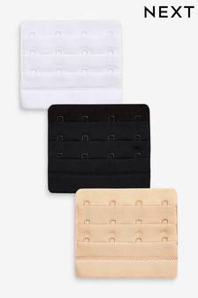 Black/White/Nude 4 Hook Bra Extender Three Pack