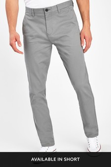 Grey Straight Fit Stretch Chinos