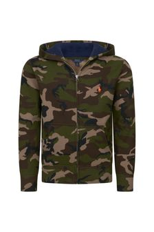 Boys Green Camouflage Zip-Up Top