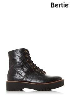 Bertie Paper Black Croc Print Leather Textured Ankle Boots