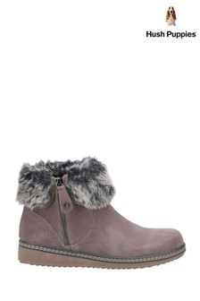 Hush Puppies Grey Penny Zip Ankle Boots