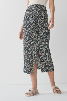 Black/Red Floral Print Sarong Style Skirt