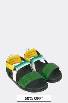 Girls Green Leather Sandals