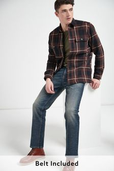 Blue Vintage Wash Straight Fit Belted Jeans With Stretch