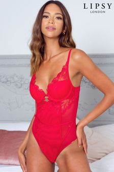 Lipsy Embroidered Push-Up Plunge Body