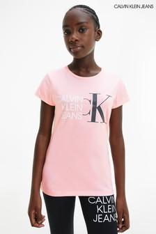 Calvin Klein Jeans Pink Hybrid Logo Slim T-Shirt
