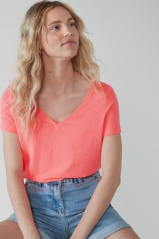 Fluro Coral Pink Womens Slouch V-Neck T-Shirt