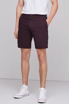 Burgundy Straight Fit Stretch Chino Shorts