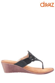 Divaz Black Felicity Toe Post Sandals