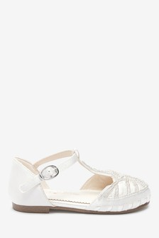 Ivory Satin T-Bar Occasion Sandals