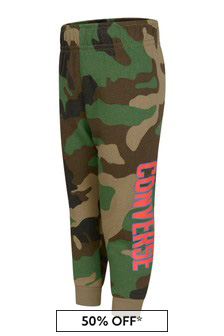 Boys Green Camouflage Cotton Joggers