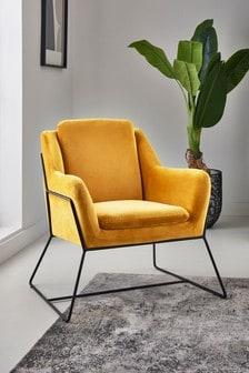 Opulent Velvet Ochre Holborn Accent Chair With Black Legs