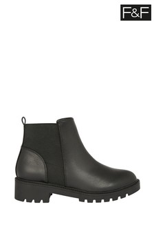 F&F Black Chunky Chelsea PU Shoes