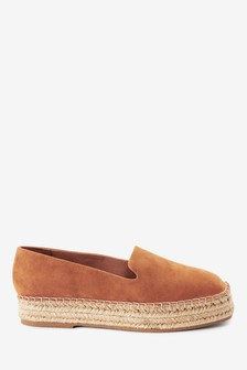 Tan Forever Comfort® Suede Square Toe Espadrille Shoes