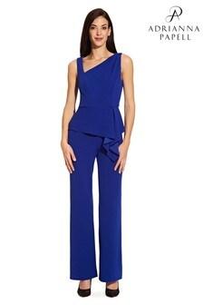 Adrianna Papell Blue Asymmetrical Jumpsuit