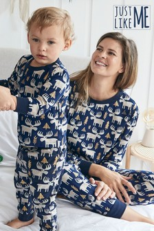Navy Matching Family Womens Christmas Moose Pyjamas