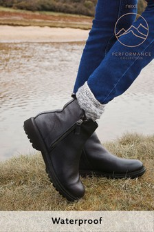 Black Performance Waterproof Signature Leather Zip Detail Boots