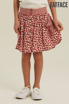 FatFace Red Daisy Button Through Skirt