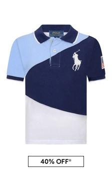 Boys Navy Multi Cotton Polo Top