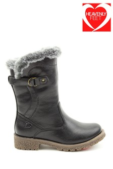 Heavenly Feet Black Junior Girls Faux Fur Cuff Boots