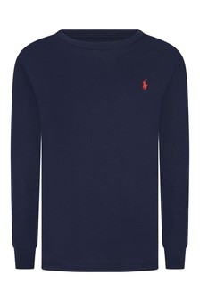 Boys Navy Jersey Long Sleeve T-Shirt