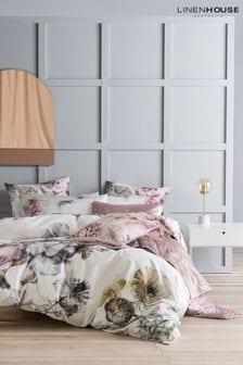 Linen House White Ellaria Large Floral Duvet Cover and Pillowcase Set