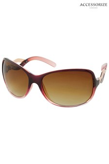 Accessorize Brown Wendy Wave Wrap Sunglasses