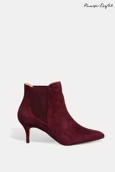Phase Eight Red Esme Heel Ankle Boots