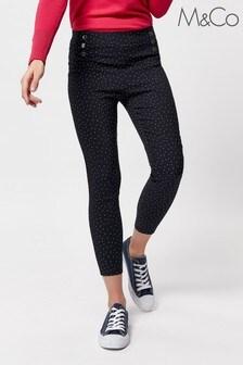 M&Co Petite Blue Spot Print Cropped Trousers