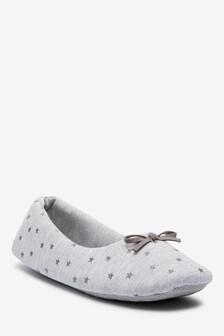 Grey Star Ballerina Slippers