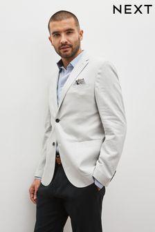 Stone Slim Fit Linen Blend Blazer