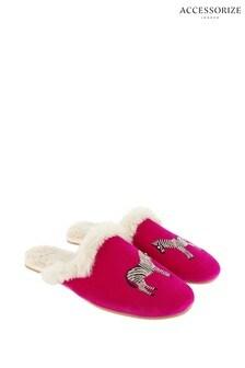 Accessorize Pink Embellished Zebra Mules