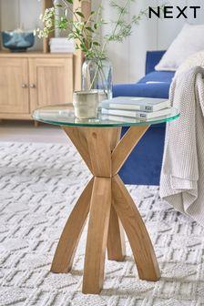 Oak Oak and Glass Side Table / Bedside