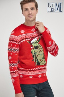 Red Matching Kids & Dads Mens Christmas Yoda Jumper