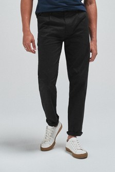 Black Straight Fit Pleat Front Chinos