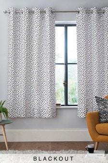 Monochrome Spot Eyelet Curtains